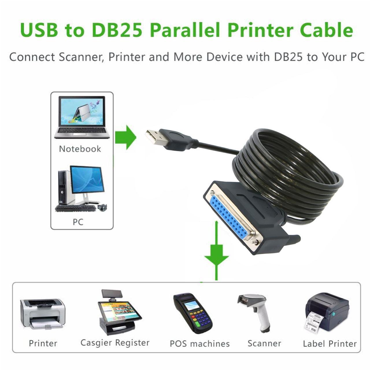 تبدیل USB به 25 پین ماده پارالل