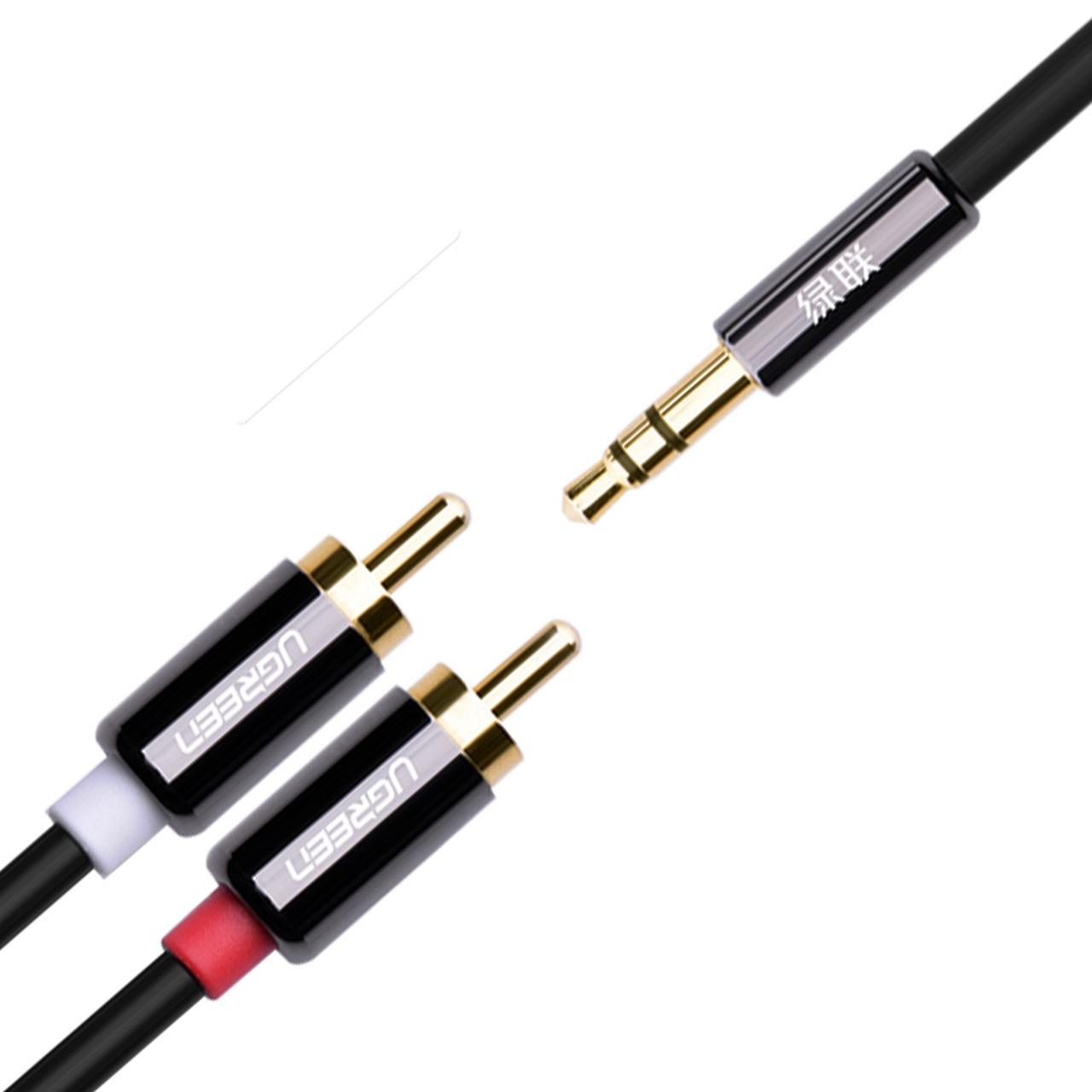 کابل 1 به 2 صدا برند Ugreen UGREEN 3.5mm male to 2RCA male cable with tiny & metal connector av116