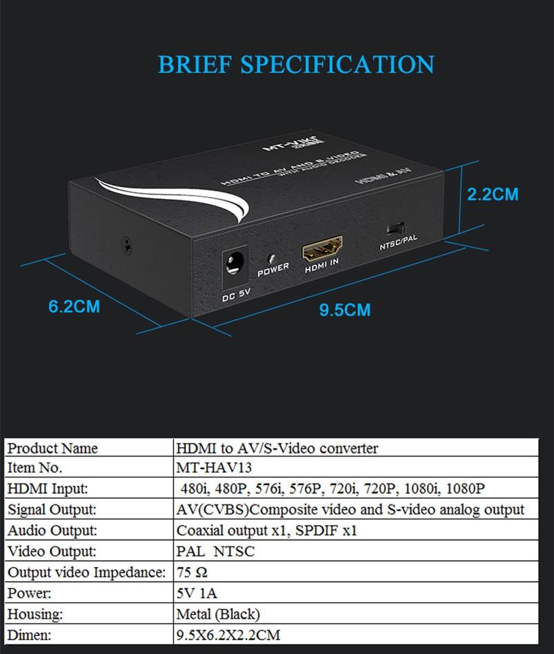 تبدیل HDMI به AVI حرفه ای برند MT-VIKI مدل MT-HAV13