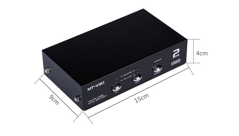 KVM HDMI اتوماتیک 2 پورت برند MT-VIKI مدل MT-2102HL