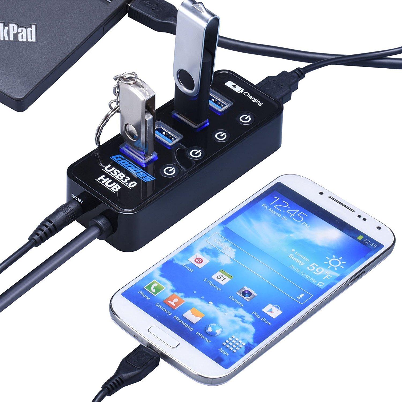 هاب 5 پورت USB3.0 کلید دار با آداپتور