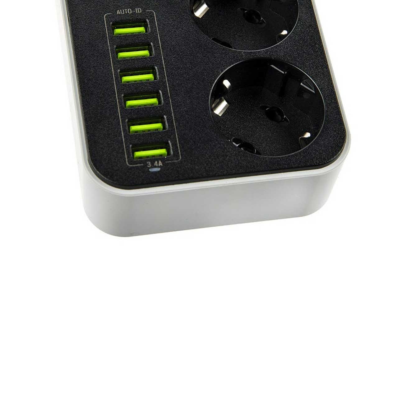 چند راهی برق و شارژر USB TSCOمدل TPS 550U