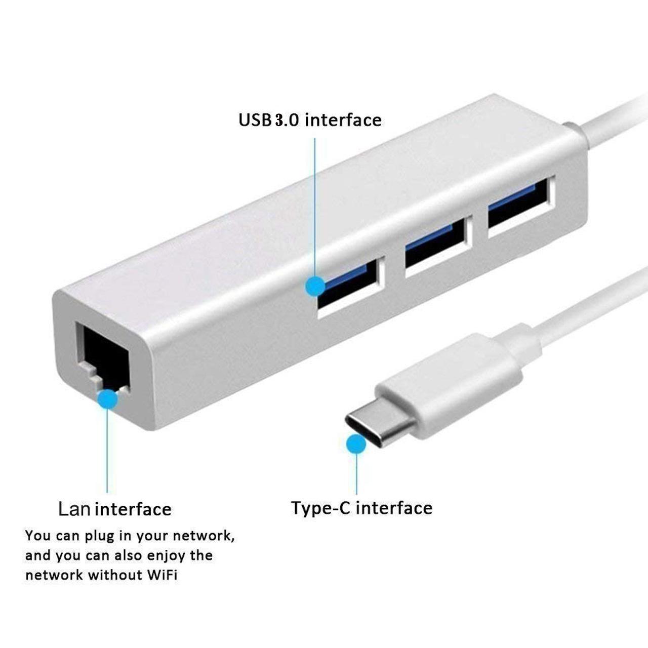 تبدیل USB Type-C به پورت LAN و USB