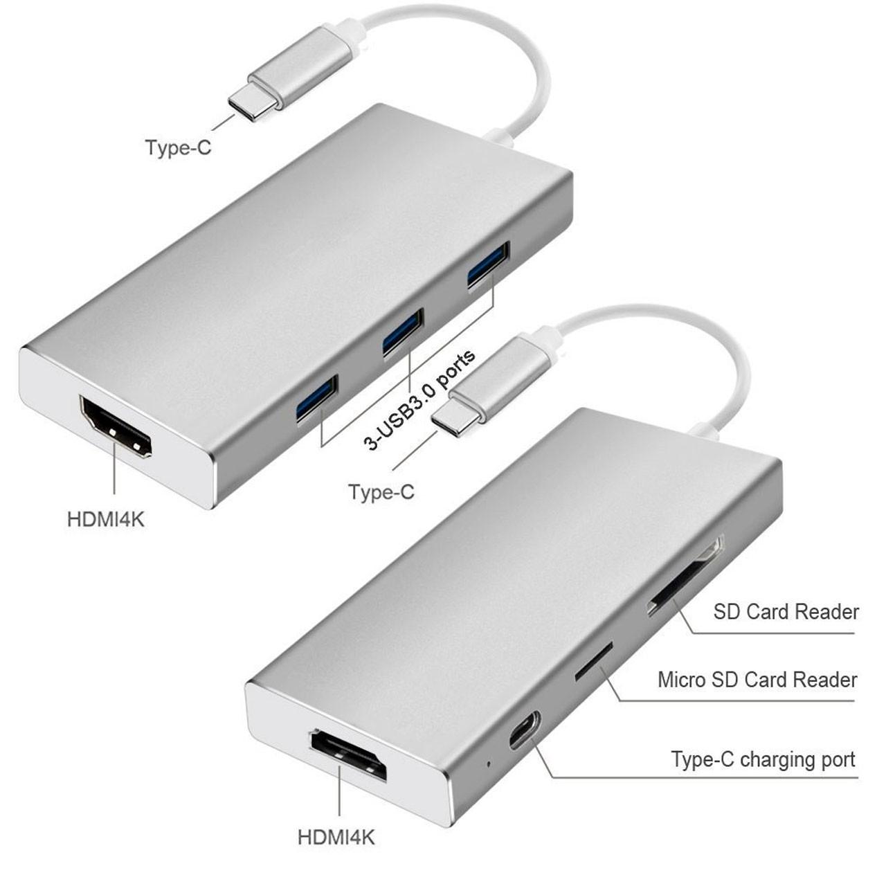 تبدیل Type-c به HDMI 4K به همراه USB 3.0 و رم ریدر