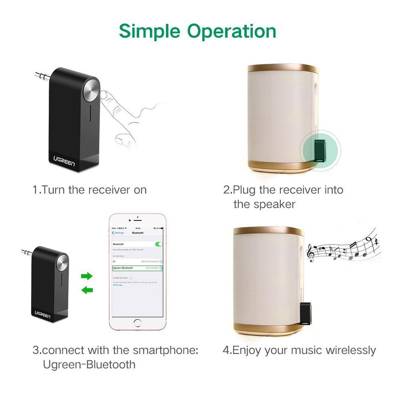 دانگل بلوتوس میکروفون دار و دریافت کننده صدا ورژن 4.1 مارک UGREEN مدل 30348