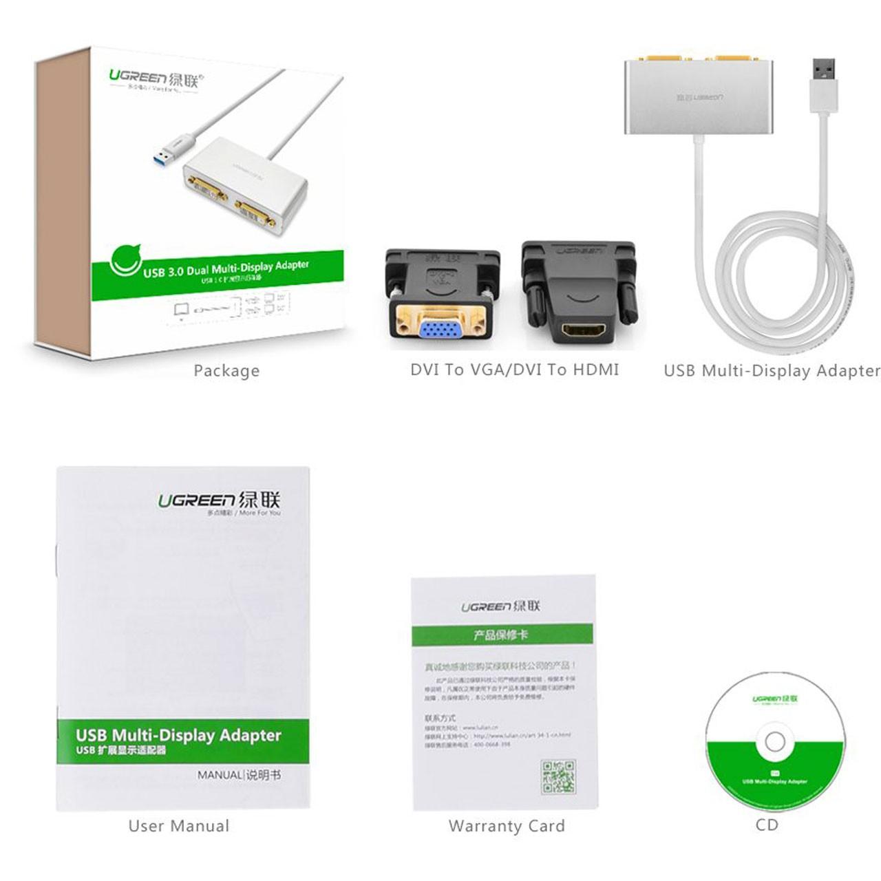گرافیک مجازی حرفه ای 2 تصویر از یک سیستم کامپیوتر از USB 3.0 بهDVI / HDMI / VGA مدل 40246