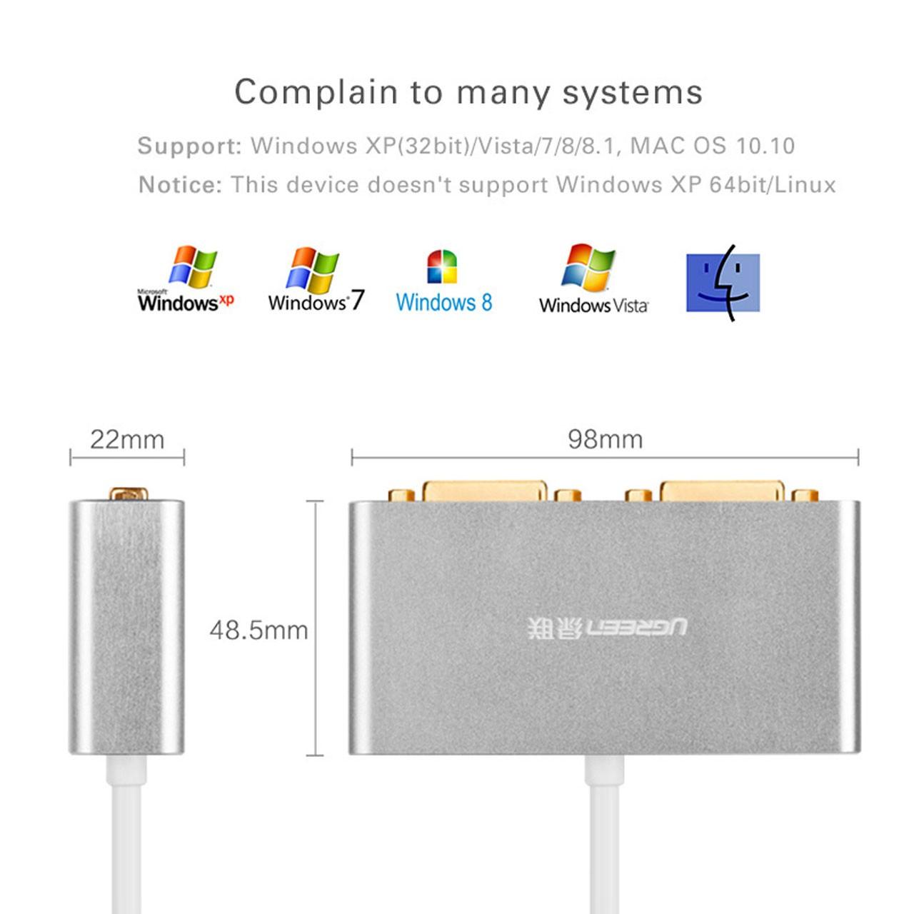مبدل USB 3.0 به Dual DVI یوگرین مدل 40246 UGREEN 40246 USB