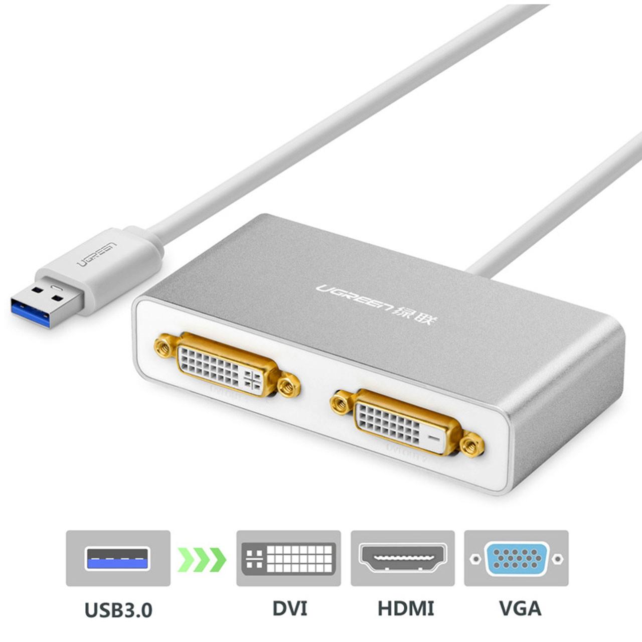 تبدیل 2 تصویر USB 3.0 به DVI / HDMI / VGA برند Ugreen 40246