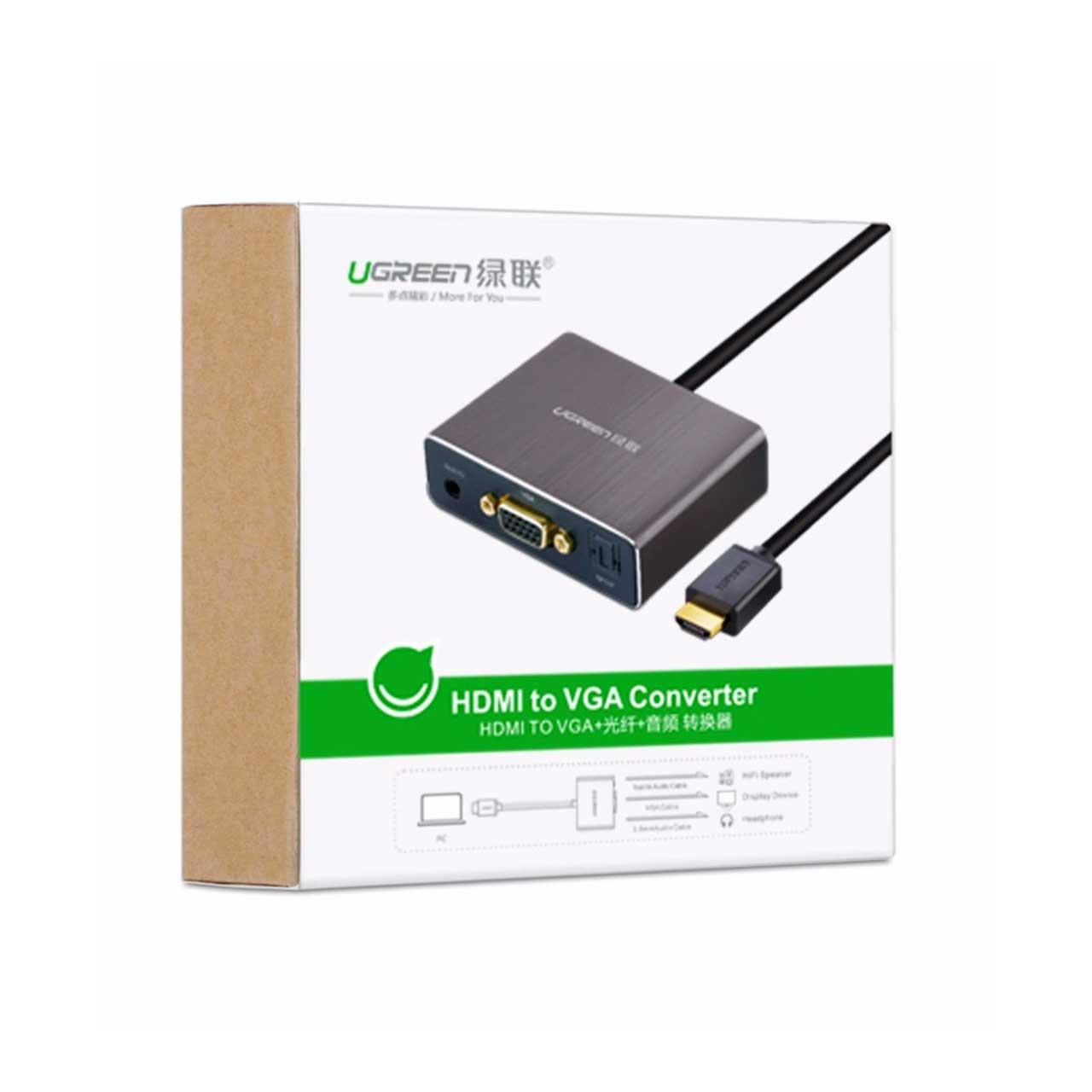 مبدل HDMI به VGA به همراه خروجی AUX + Optical برند UGREEN