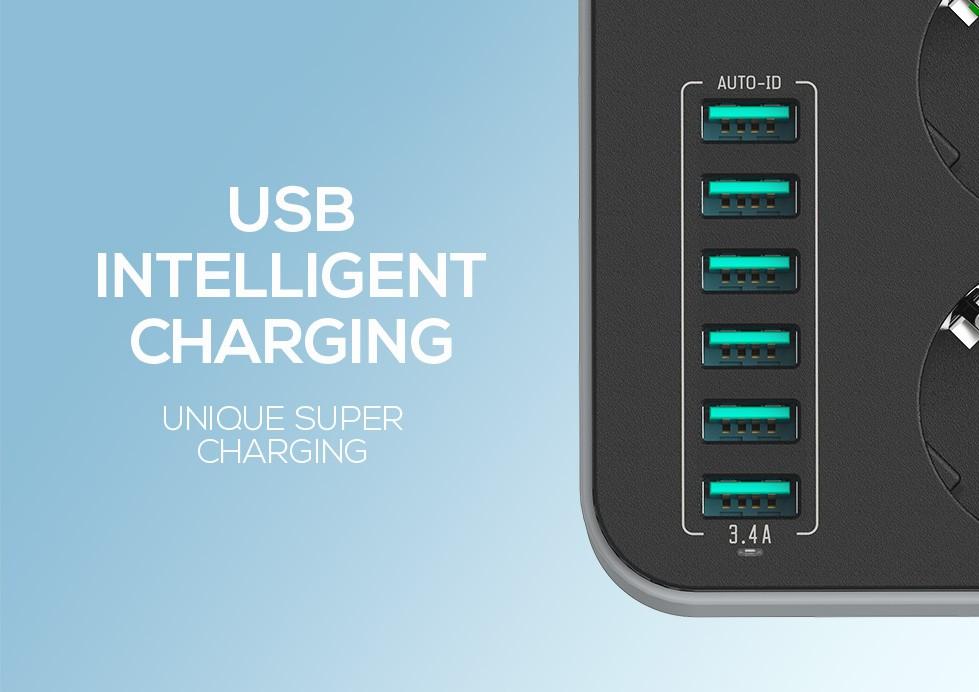 چند راهی برق و شارژر USB مارک LDNIO مدل SE3631